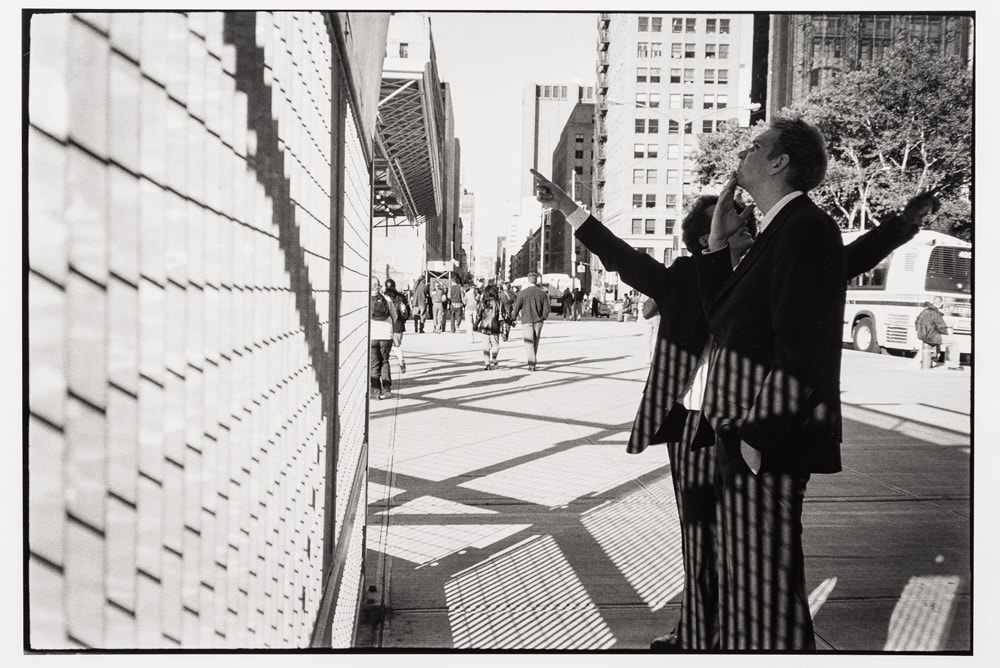 site of World Trade Center, manhattan, october 2004 - photo by James Gilberd, decisive moment, street photography, black and white street photo, photocourse NZ, Photospace Gallery Wellington New Zealand