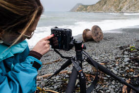Photographing at Makara Beach, Wellington. Photo: J.Gilberd, learn the basic creative camera  controls, photography course in wellington, manual exposure, depth of field, shutter speed, exposure control